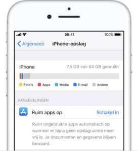 iPhone opslag vol